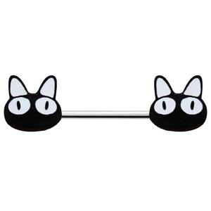 [14G ボディピアス] 黒猫 ストレートバーベル ボディピアス 14ゲージ サージカルステンレス316L メンズ レディース ボディーピアス ヘリックス 軟骨 ニップル 乳首 平行向き プレゼント ギフト