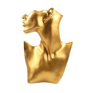 店舗用アクセサリーディスプレイ(ゴールド)金色 顔 上半身 撮影用 ピアス スタンド ネックレス チョーカー ペンダント 耳 胸 体 ディスプレイ 業者 マネキン 撮影用 動画用 写真用 大きい