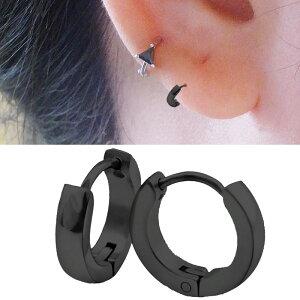 細くて小さいブラックシャドーフープピアス(2mmx9.5mm) 1個販売 スモール スリム 黒色 スタイリッシュ 18G 18ゲージ 耳 軟骨 リングピアス サージカルステンレス メンズ レディース ステンレ