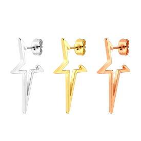 スターフレームステンレスピアス 1個販売 横から見たら星型 おもしろい 面白い 金メッキ ピンクゴールド ゴールド シルバー サージカルステンレス316L 20G 20ゲージ レディース メンズ ペア用 キャッチピアス 軟骨 耳たぶ スタッドピアス 個性的 大人 ユニーク