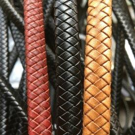 太さ 10mmx5mm [DIY用 編み込み 革紐] フラット編み上げレザーロープ /10cm単位 皮ひも 手作り ハンドメイド用 レッド 赤色 ブラック 黒色 ブラウン 茶色 ブレスレット アンクレット チョーカー ネックレス 部品 単品 皮ひも 皮紐 クラフト 鞄 服 靴 編み込み 平ら 平たい