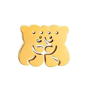 ラブラブゴールドベアーステンレスピアス/1個販売 金色 金メッキ 熊 クマ くま アニマル 動物 いちゃいちゃ カップル 2匹 おもしろ キャッチピアス 20G 20ゲージ レディース メンズ ペアルック