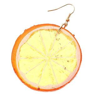 3D カットオレンジ リアルステンレスピアス/1個販売 20G 20ゲージ 果物 食玩 食べ物 フルーツ 黄色 蜜柑 ミカン おもしろ オモシロ サージカルステンレス316L メンズ レディース 揺れる フック
