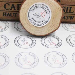 丸型ハンドメイドシール(ホワイト)1シート(10個)販売 HAND MADE 手作り ステッカー ラベル タグ 白色 ハート カラー 紙 ペーパー プレゼント ギフト 貼る ラウンド DIY 封筒 箱 貼る 手作りアピ