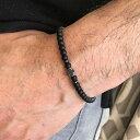 ストーンビーズブレスレット (ヘマタイトクロス)1個販売 黒色 ブラック 石 天然石風 十字架 クリスタル ジルコニア …