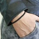 ストーンビーズブレスレット (ライオネル)1個販売 黒色 ブラック 石 天然石風 オニキス風 細身 スリム 細い バングル 数珠 メンズ レディース 手首 フリーサイズ 腕輪 プレゼント ギフト 綺麗