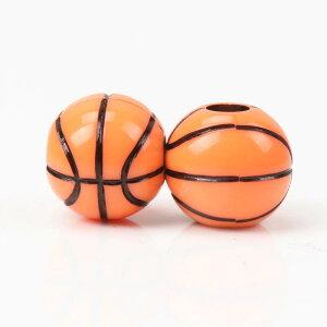 [穴開き 4mm用] 12mmバスケットボールアクリルビーズ/5個セット 籠球 おもしろ ユニーク 面白い 個性的 ピアス パーツ プラスティック 4mm革紐 テグス ブレスレット ネックレス アンクレット チ