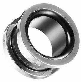 [2G 0G 00G 12mm ボディピアス]ダブルカラートンネル ボディーピアス /シルバーxブラック 2ゲージ 0ゲージ 00ゲージ 12.0mm 1/2 ハーフインチ 12ミリ 6mm 8mm 10mm 黒色 銀色 メンズ レディース ネジ式 ネジタイプ プラグ ホール 2色 面白い おもしろ プレゼント 人気