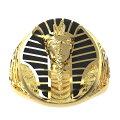 ゴールドツタンカーメンステンレスリング(PRB070)サイズ/31号エジプト黄金金色面白いおもしろいピラミッド指輪サージカルステンレス316Lメンズレディースペアリングプレゼントギフト人気おしゃれ男の人女の人上品大人ピンキーリングゴツメ