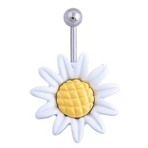 白いお花のマーガレットヘソピアス 14G 14ゲージ へそピアス 臍ピアス ボディピアス サージカルステンレス316L ボディーピアス メンズ レディース 女性 女の子 プレゼント ギフト バナナバー