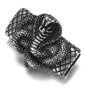 [ 12mmx6mm用 平革紐用 皮ひもパーツ] 3Dキングコブラ サージカルステンレス316L ステンレスパーツ 平ら フラット 平たい 皮紐 革紐 革ひも レザー ビーズ 通す ネックレス ブレスレット バングル