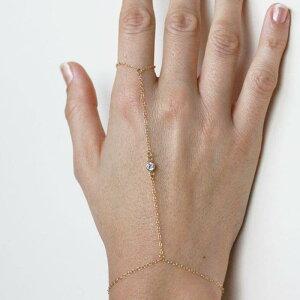 クリスタルゴールドフィンガーブレスレット1個販売 バングル 腕輪 指輪 つなぐ メンズ レディース ゴールドチェーン キュービックジルコニア ラインストーン ファランジリング ミディリン