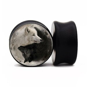 [木製 0G 00G 12mm ボディピアス] 陰陽犬・ウッドプラグ ボディーピアス 黒色 ブラック 0ゲージ 00ゲージ 12.0mm 12ミリ 8mm 10mm メンズ レディース 男性用 女性用 人気 金属アレルギー対応 犬 ドッグ