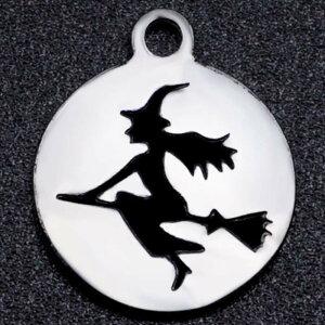 ウイッチメダルステンレスパーツ 1個販売 魔女 魔法使い 満月 ハロウィーン ハロウィン 丸型 コインチャーム シルエット 影絵 チャームパーツ メンズ レディース 部品 金具 DIY ペンダントト
