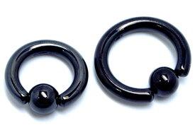 [ 6G ]ブラックキャプティブビーズリング 6ゲージ ボディピアス サージカルステンレス316L 黒色メッキ 低アレルギー メンズ人気 軟骨 ヘリックス へそピアス 口ピアス トラガス ブラックチタンコート リング型 定番 内径サイズ 大きい 小さい