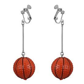 バスケットボールイヤリング(1ペア) 両耳 スポーツ メンズ レディース オモシロ 面白い 玉 球 籠球 ボール 笑う 個性的 ユニーク イヤーカフ イヤークリップ はさむ 挟む パーティ プレゼント ギフト ノンホールピアス お返し チャーム 揺れる 3D 立体 フィギア
