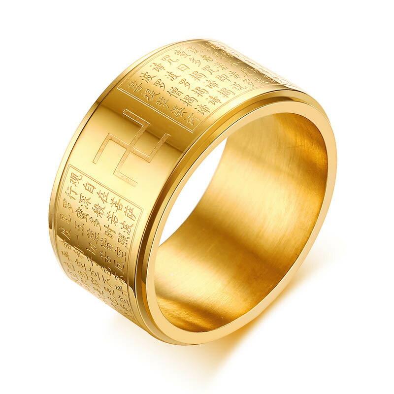 黄金の般若心経スピナーリング(RXL008) ゴールド 金メッキ 卍 マンジ サイズ/23号/25号/26号 サージカルステンレス316L ステンレスリング 回転 スピンリング 回る グルグル メンズ レディース 指輪 おもしろ お経 プレゼント 面白い 仏教 オモシロ 漢字 大きい