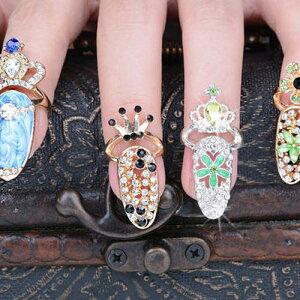 クィーンネイルリング 1個販売 チップリング ネイル 指先の指輪 爪の指輪 ネール 01号 スモールサイズ 小さいサイズ ピンキーリング 女子 レディース 女の子 プレゼント クリスタル 王冠 ティアラ 花 フラワー ペリドット ブラック ブルー 青色 ファランジリング ギフト