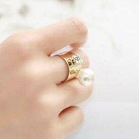 ルナパールファランジリング 指輪 チップリング レディース フォークリング ミディリング フィンガーリング ゴールド 金メッキ パール 真珠 クリスタル ジルコニア ラインストーン フリーサイズ 指先の指輪 関節の指輪 女子 大人 結婚式 パーティ 入学式 卒業式 プレゼント