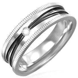 マックローターステンレスリング(ERN050)サイズ/16号/18号/23号 ブラック ライン クリスタル ジルコニア ステンレスリング 指輪 サージカルステンレス316L 低アレルギー メンズ レディース ペアリング プレゼント ギフト 結婚 婚約 記念日 誕生日 ピンキーリング