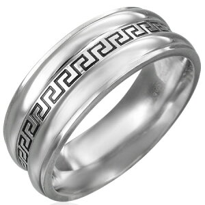 グリークキーリング(ERN067)サイズ/18号 永遠 フォーエバー エターナル ギリシャ文字 ステンレスリング 指輪 サージカルステンレス316L 低アレルギー メンズ レディース ペアリング プレゼン