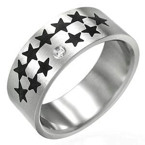 キラスタステンレスリング(NRM012)サイズ/17号 星 スター 黒 ブラック ステンレスリング 指輪 サージカルステンレス316L 低アレルギー メンズ レディース ペアリング プレゼント ギフト 結婚
