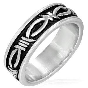 バーベットステンレスリング(RMT105)サイズ/28号 有刺鉄線 おもしろ 指輪 サージカルステンレス316L 低アレルギー メンズ レディース ペアリング プレゼント ギフト 結婚 婚約 記念日 誕生日