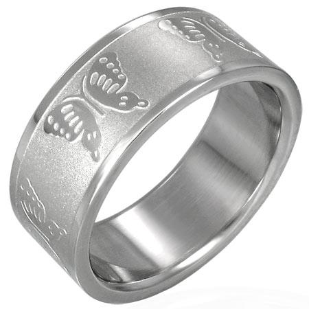 バタフライステンレスリング(RRR049)サイズ/23号/26号 チョウチョウ 蝶 指輪 サージカルステンレス316L メンズ レディース ペアリング プレゼント ギフト 結婚 婚約 記念日 誕生日 ピンキーリング ファランジリング