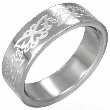 バタフライレリーフステンリング(RRR069)サイズ/26号 蝶 チョウチョウ 指輪 サージカルステンレス316L メンズ レディース ペアリング プレゼント ギフト 結婚 婚約 記念日 誕生日 ピンキーリング ファランジリング