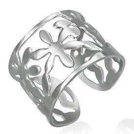 スモールフラワーフリーサイズリング(RTK003)サイズ/16号/17号/18号/19号/20号/21号/22号/23号/24号/25号 花 ステンレスリング 指輪 サージカルステンレス316L メンズ レディース ペアリング プレゼント ギフト 結婚 婚約 記念日 誕生日 ピンキーリング ファランジリング
