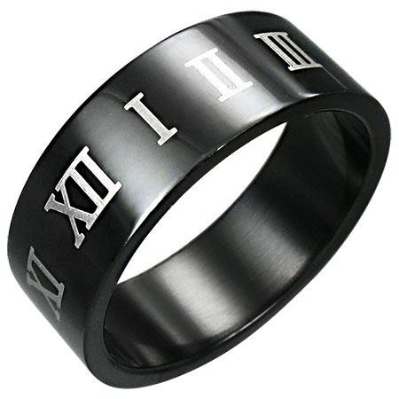 ブラックデイトナステンレスリング(SRV007)サイズ/28号 黒色のローマ数字 ナンバー 指輪 サージカルステンレス316L メンズ レディース ペアリング プレゼント ギフト 結婚 婚約 記念日 誕生日 ピンキーリング ファランジリング かっこいい クール