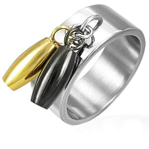 ブンブンチャームステンリング(SRV139)サイズ/17号 おもしろ ボールングのピンのようなチャーム ゴールド ブラック 指輪 サージカルステンレス316L メンズ レディース ペアリング プレゼン