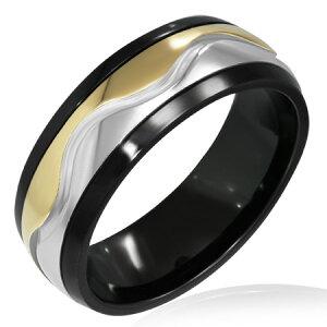 トライバルウェーブスピンステンレスリング(SRV150)サイズ/29号 回転する指輪 回る ブラック ゴールド おもしろ 黒 金 サージカルステンレス316L メンズ レディース ペアリング プレゼント
