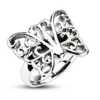 クリアバタフライステンレスリング(STR028)サイズ/18号 チョウチョウの指輪 蝶 サージカルステンレス316L メンズ レディース ペアリング プレゼント ギフト 結婚 婚約 記念日 誕生日 ピンキーリング ファランジリング