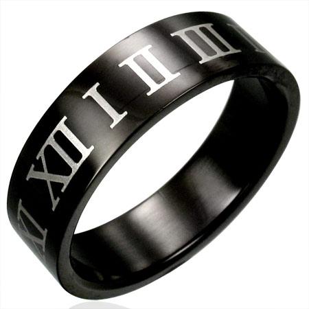 ブラックナンバーステンレスリング(XRX004)サイズ/28号 ローマ数字 黒色 指輪サージカルステンレス316L メンズ レディース ペアリング プレゼント ギフト 結婚 婚約 記念日 誕生日 ピンキーリング ファランジリング