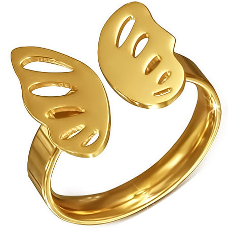 ゴールドバタフライステンレスリング(RCZ187)サイズ/21号 金色 チョウチョウ 蝶 フリーサイズ 指輪 サージカルステンレス316L メンズ レディース ペアリング プレゼント ギフト 結婚 婚約 記念日 誕生日 ピンキーリング ファランジリング
