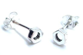 ナットスタッドピアス/1ペア ボルト リアル 面白 3D 立体 両耳 おもしろピアス 20G 20ゲージ 両耳 シルバー925 スターリングシルバー シルバーピアス キャッチピアス メンズ レディース 高級 オリジナル 耳たぶ 軟骨