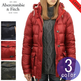 ABBA black outer lady's regular article Abercrombie & Fitch ジャケットグレイダッグダウンコート DOWN-FILLED PUFFER COAT