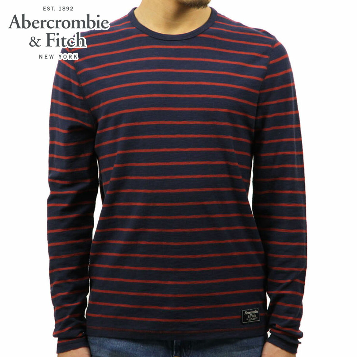 アバクロ Abercrombie&Fitch 正規品 メンズ 長袖Tシャツ LONG-SLEEVE STRIPED CREW TEE 124-236-1677-204 D00S20
