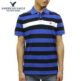 アメリカンイーグル ポロシャツ メンズ 正規品 AMERICAN EAGLE 半袖ポロシャツ Polo ブルー D25S35