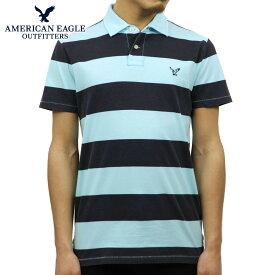 アメリカンイーグル ポロシャツ メンズ 正規品 AMERICAN EAGLE 半袖ポロシャツ AE Striped Jersey Polo 2165-7192 BLUE D30S40