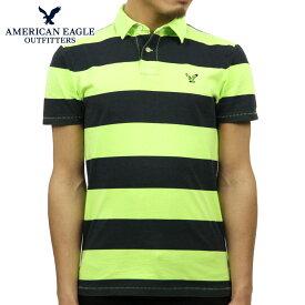 アメリカンイーグル ポロシャツ メンズ 正規品 AMERICAN EAGLE 半袖ポロシャツ AE Striped Jersey Polo 2165-7192 LIME D20S30