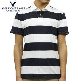 アメリカンイーグル ポロシャツ メンズ 正規品 AMERICAN EAGLE 半袖ポロシャツ AE Striped Jersey Polo 2165-7192 WHITE D30S40