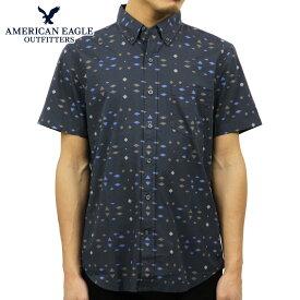 【ポイント10倍 11/19 20:00〜11/26 01:59まで】 アメリカンイーグル シャツ メンズ 正規品 AMERICAN EAGLE 半袖シャツ AE Printed Short Sleeve Button-Down 0154-8640 NAVY