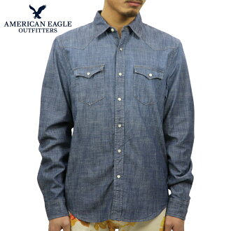 아메리칸이 글 AMERICAN EAGLE 정품 남성용 シャンブレーシャツ AE Chambray Western Shirt 1152-8581 NAVY