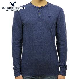 【販売期間 12/11 2:00〜12/14 09:59】 アメリカンイーグル Tシャツ メンズ 正規品 AMERICAN EAGLE 長袖Tシャツ ヘンリーネックTシャツ AE Legend Long Sleeve Henley 4171-7605 NAVY