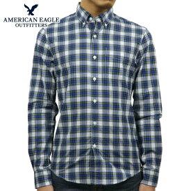 【ポイント10倍 11/19 20:00〜11/26 01:59まで】 アメリカンイーグル AMERICAN EAGLE 正規品 メンズ ボタンダウン長袖シャツ AE Plaid Poplin Button-Down Shirt 0153-1272-307