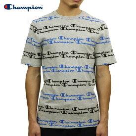 【ポイント10倍 9/21 20:00〜9/26 01:59まで】 チャンピオン Tシャツ 正規品 CHAMPION 半袖Tシャツ CREW TEE T1919S 70Z HERITAGE TEE ALL OVER SCRIPT OXFORD GREY/HOTLINE BLUE/BLACK
