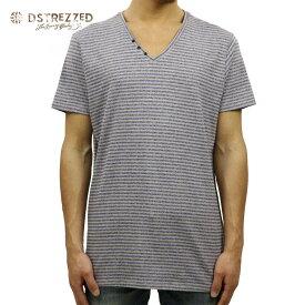 【ポイント10倍 8/22 10:00〜8/24 23:59まで】 ディストレス Tシャツ 正規販売店 DSTREZZED 半袖Tシャツ V-neck s/s Y/D stripe melange 202192 94 D15S25