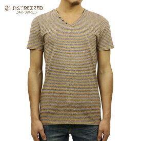 ディストレス Tシャツ 正規販売店 DSTREZZED 半袖Tシャツ V-neck s/s Y/D stripe melange 202192